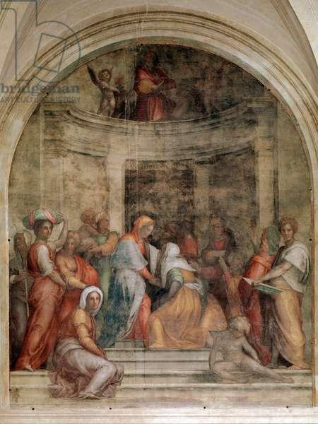 Visitation Fresco of Pontormo (Jacopo Carrucci) said the Pontormo (1494-1556) 1514-1516 Dim 392x337 cm Chesa della santissima Annunziata, Florence