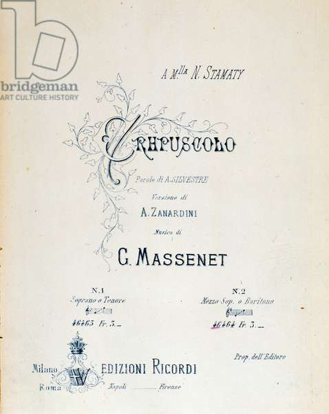 """Frontispiece of musical score of pastoral poem n°5 """""""" Crepuscule"""""""" by Jules Massenet (1842-1912) - Frontispice of """""""" Crepuscule"""""""" pastoral poem n°5 by Jules Massenet - Private collection"""
