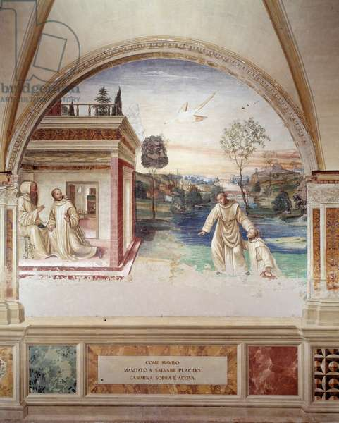 Maur walks on water to rescue st Placid (St Maurus walks on water to rescue st Placid) fresco of the cloister made by Antonio Bazzi dit il Sodoma (1477 - 1549) recounting the life of Saint Benedict of Nursie (480 - 567) founder of the Order of Benedictines 1503 - 1508 Abbey of Monte Oliveto Maggiore, Florence