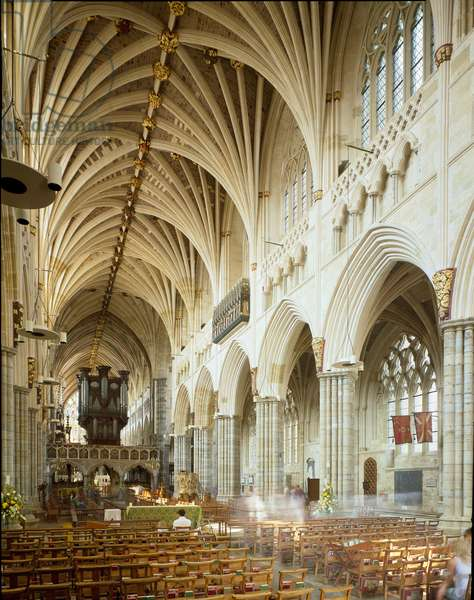 View of the interior of the Cathedral of Exeter, beginning of the 14th century (photography)