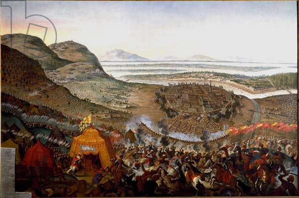 """Austro-Turkish War (Austro Turkish): """""""" View of the Battle of Vienna on 12/09/1683 on the hill of Kahlenberg"""""""" The Turkish armees are commanded by the Grand Vizir Kara Mustafa, against the Austrian and German armed forces. Painting by Frans Geffels (17th century) Dim. 184 x 272 cm Vienna Historisches Museum of the City"""