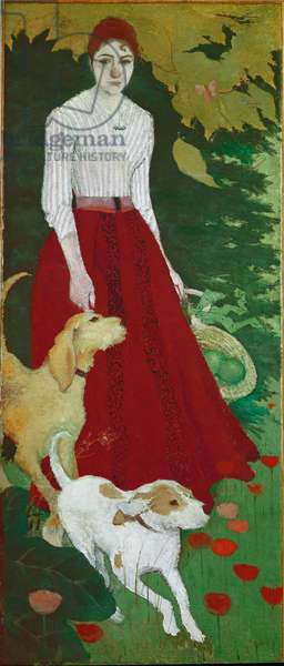 Miss Andree Bonnard (1872-1923) with her dogs Painting by Pierre Bonnard (1867-1947) 1890 Dim 188x80 cm Private collection