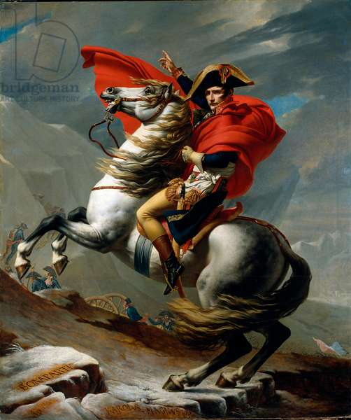 Bonaparte, 1st Consul, crossing the Alps, at Mont Saint-Bernard on May 20, 1800 - Equestrian portrait of Napoleon I Bonaparte (1769-1821) at the pass of Grand-Saint-Bernard (Grand Saint Bernard) - Painting by Jacques Louis David (1748-1825), 1801 Sun. 246x231 cm Vienna, May Kunsthistorisches Museum, Austria - Bonaparte Museum, Austria - Bonaparte crossing the St Bernard Pass, Austria - Bonaparte crossing the St Bernard Pass, 1800 - Yeah. Equestrian portrait of Napoleon I Bonaparte (1769-1821) - Painting by Jacques Louis David (1748-1825), oil on canvas, 1801 (246x231 cm) - Kunsthistorisches Museum Vienna (Austria)