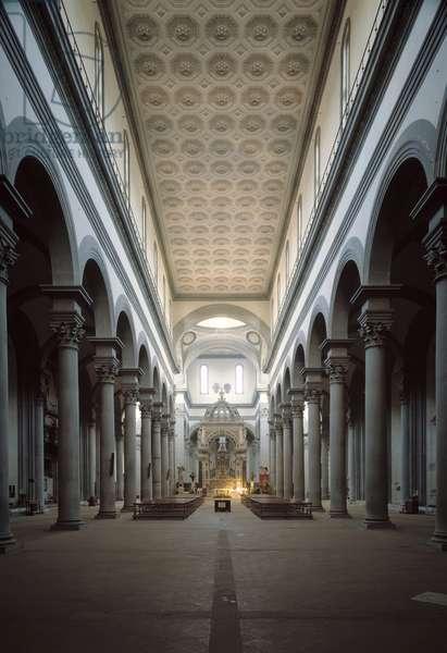 Interior view of the church of Santo Spirito begun by Brunelleschi, 1444 (Interior view of the church of Santo Spirito, Florence) Italy