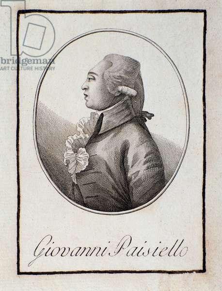 Portrait of Italian composer Giovanni Paisiello (1740-1816). Engraving. Bologna, civico museo musico