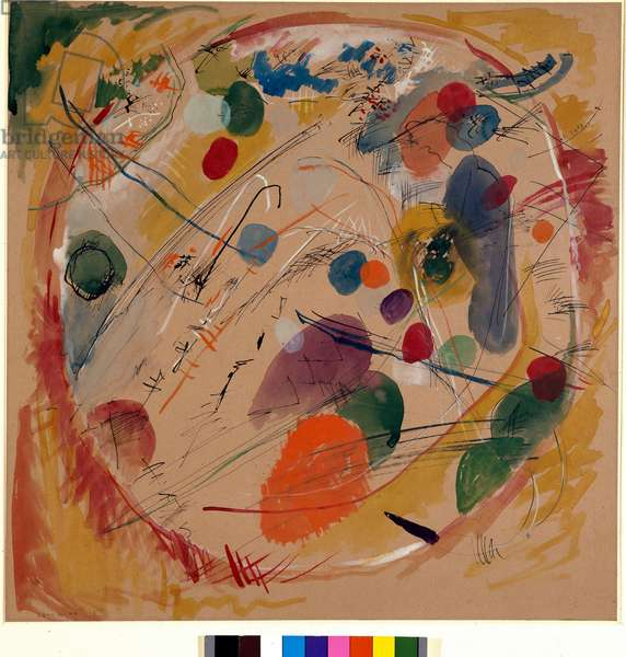 "Expressionism: """" In the Circle"""" Watercolour by Vassily Kandinsky (or Wassily Kandinski or Kandinskij, 1866-1944). 1911 Sun. 49x49 cm Private collection"