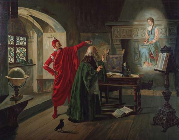 """""""Marguerite, Faust and Mephisto"""" Scene from """"Faust"""" by Charles Gounod (1818-1893) c.1900 (oil on canvas)"""