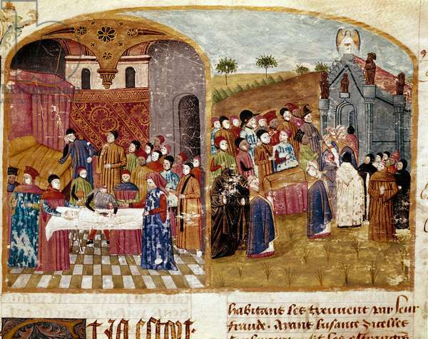 """the funeral of Alexander the Great, the dissection and the miniature burial taken from """""""" Book of Facts of Alexander the Great"""""""" by Quintus Curtius Rufus (1st century), 15th century. Reims. Municipal Library"""