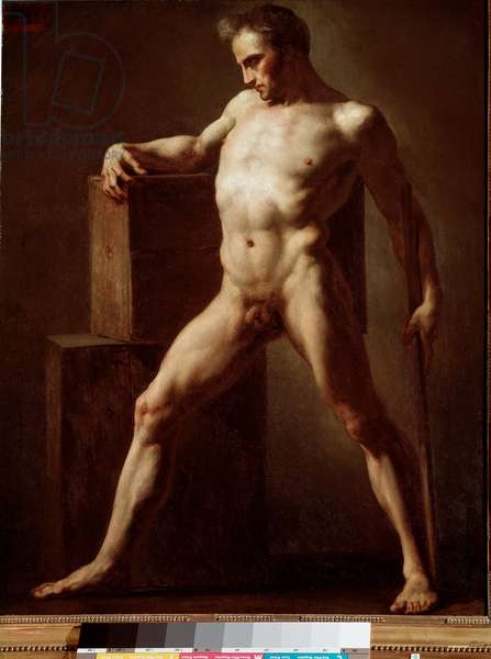 Academie Academic study of naked body. Painting by Jean Louis Theodore Gericault (1791-1824) 1808-1812 Sun. 79x62 cm Rouen, musee des Beaux Arts