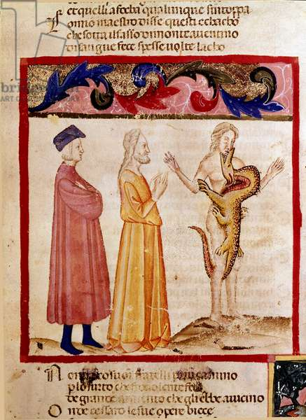"""Dante and Virgil meet the soul of a sinner condemned to be devoured by a dragon. Illuminated page illustrating a song of Hell draws from the """"Divina Commedia"""" by Dante Alighieri (1265-1321). 14th century, Venice, Biblioteca Marciana"""