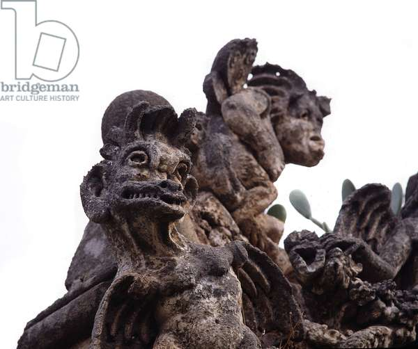 Cycle of Monsters Statue of Villa Palagonia designed by Tommaso Maria Napoli (1655-1725) in 1715 Bagheria near Palermo, Sicily Italy (Monsters cycle, sculpture in the garden of villa Balagonia built by Tommaso Maria Napoli 1715) at Bagheria, Palermo, Sicily)