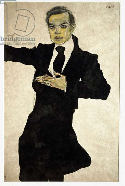 Portrait of Max Oppenheimer (1885-1954), German painter Drawing by Egon Schiele (1890-1918),