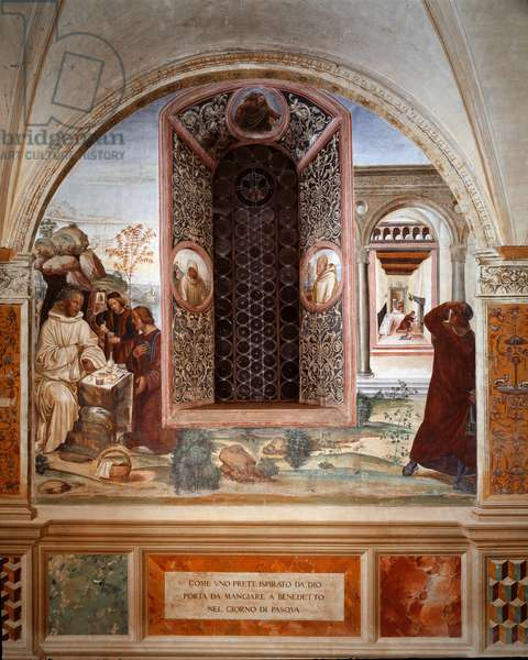 How a priest brought food to Benedict on Easter - Fresco of the cloister made by Antonio Bazzi dit il Sodoma (1477 - 1549) recounting the life of Saint Benedict of Nursia (480 - 567) founder of the Order of Benedictine 1503 - 1508 Abbey of Monte Oliveto Maggigigigiore, Florence