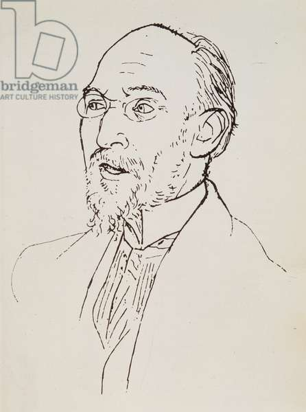 Portrait of French composer Erik Satie (1866-1925) Drawing a lead mine and charcoal by Pablo Picasso (1881-1973) About 1920 Private collection