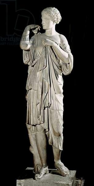 "Artemis called ""Diane de Gabies"": the goddess staples the coat offered by her faithful. Marble sculpture. replica from an original 356 BC. Sun 1.650 m. Paris, Louvre Museum"