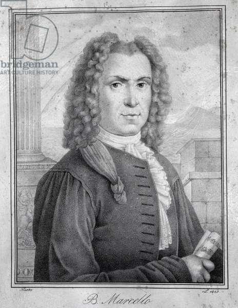 Portrait of italian composer, writer, advocate, magistrate, and teacher Benedetto Marcello (1686-1739) brother of Alessandro Engraving. 18th century. Milan, conservatorio Verdi