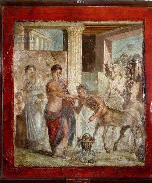 "Roman Art: """" The centaur attends the wedding of Pirithoos (Pirithous) and Hippodamia"""" Roman fresco from the site of Pompei. 1st century AD. Naples, Museo Archeologico Nazionale"
