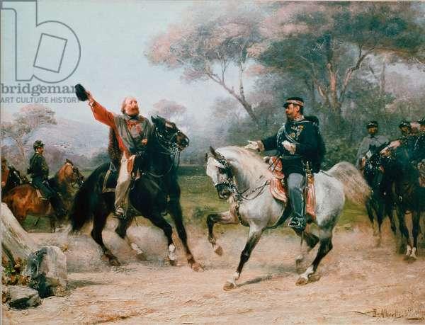 Giuseppe Garibaldi (1807-1882) meets Vittorio Emanuele II (Victor Emmanuel) (Victor Emmanuel) of Savoy in Teano on 26/10/1860 Painting by Sebastiano De Albertis (1828-1897) 19th century Milan, Museo del Risorgimento