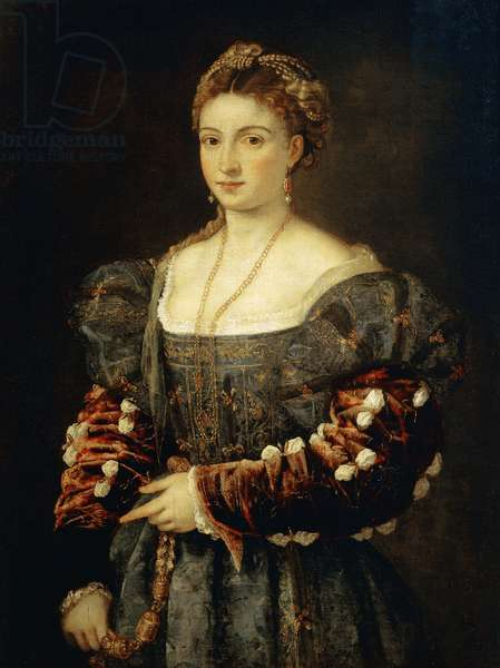 La belle (La bella) Portrait of a young woman dressed in a rich velvet dress. Painting by Tiziano Vecellio called the Titian (ca. 1490-1576) 1536 Dim. 100x75 cm Florence, Galleria Palatina