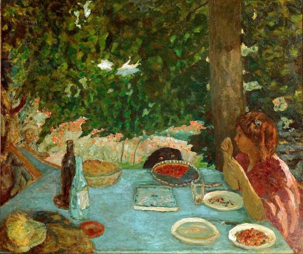 The cherry pie Young woman sitting has a table in a garden. Painting by Pierre Bonnard (1867-1947) 1908 Dim. 115x126 cm Zurich, Collection Peter Nathan