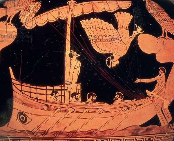 Greek antiquite: black stamnos vase with red figures representing Ulysses on his ship resistant to the song of the Sirens (Odyssee d'Homere). Painting by the painter of the Sirene. 480-470 BC. London, british museum
