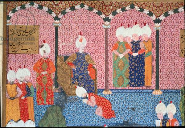 Portrait of Soliman (Suleyman) I the Magnificent (1494-1566), Sultan Ottoman surrounds his court at the ceremony of accession to the Throne Detail. Miniature taken from 'Suleymanname' by Arifi (ms. H.1517) 1558. Topkapi Sarayi Istanbul