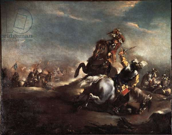 Duel of Knights (Knights fighting) Painting by Giovanni Antonio Guardi (1699-1760) Venice Museo Correr