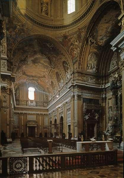 Interior view of the church of Gesu in Rome, circa 1568 (Interior view of Chiesa del Gesu in Rome, italy)