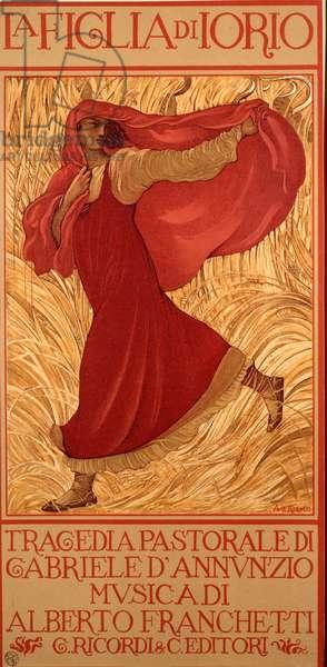 La Figlia di Iorio (La Fille de Jorio) Tragedy written by Gabriele d'Annunzio with music by Alberto Franchetti. Poster illustrated by Adolfo de Carolis (Karolis) (1874-1928) 1906 Dim. 15x30,5 cm Milanese private collection