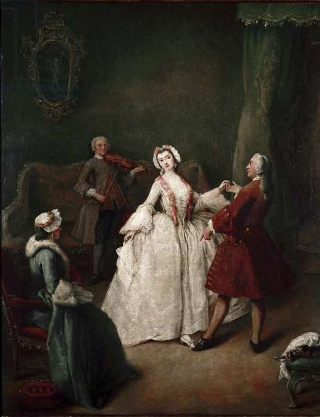 The dance lesson (The dance lesson) Painting by Pietro Longhi (1702-1785) ca. 1741 Dim 60x49 cm Venice galleria dell'accademia Italy