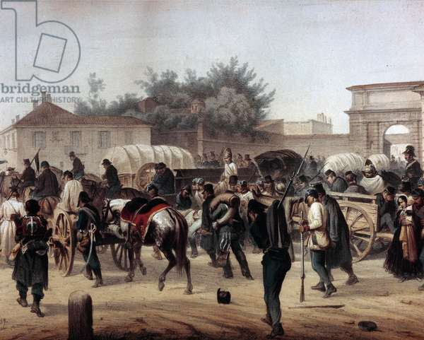 """Risorgimento: The Five Days of Milan (Cinque giornate di Milano) (18-22 March 1848): this is one of the first episodes of the Revolutions of 1848 (part of the First Italian War of Independence) that saw the rise of the Milanese population insurgent against the Austrian occupation of Josef Radetzky. """""""" The Austrians leave the city through the Tosa Gate"""""""""""" 19th century Milan, Museo del Risorgimento"""