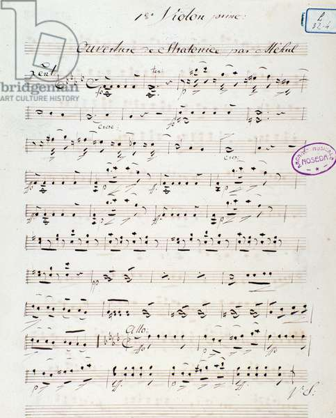 """Page of musical score of """""""" Stratonice"""""""""""" ouverture, opera by Etienne Nicholas Mehul (1763-1817) 1792. Opening page of the opera """""""" Stratonice"""""""" by Mehul. 1792 Milan, biblioteca del conservatorio"""