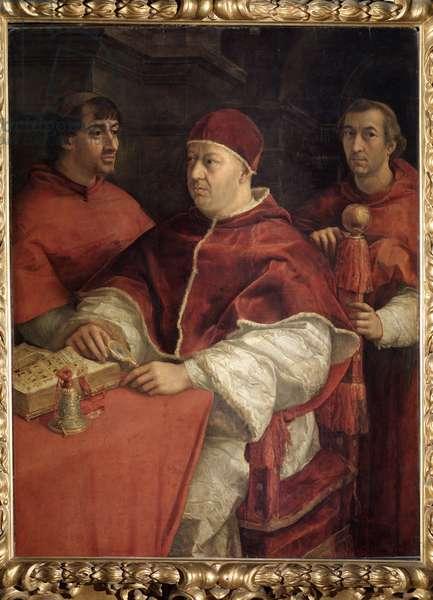 Portrait of Pope Leon (Leo) X (John of Medicis, 1475-1521) with Cardinal Louis de Rossi (1474-1519) and Giulio de Medici (Jules de Medicis, who will become Clement VII, 1478-1534) Painting by Raffaello Sanzio dit Raphael (1483-1520), 1518 Oil on wood Dim: 155,5 x 119.5 cm (Uffizi), Florence