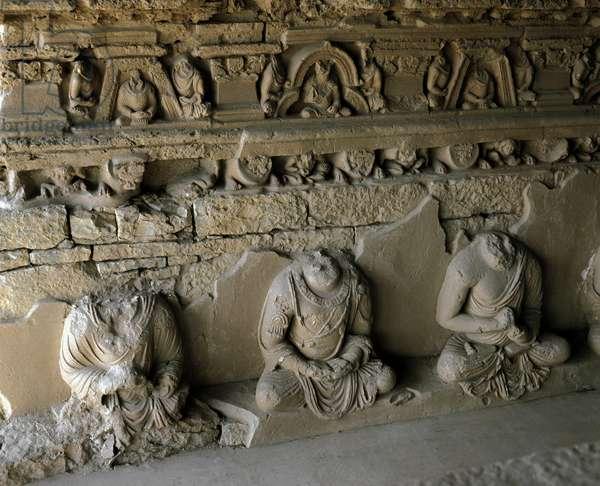 Statues of Buddha in the Buddhist monastery of Jaulian 2nd-1st century BC Pakistan (statues of Buddha in the ancient Buddhist monastery in Haripur District, Pakistan)