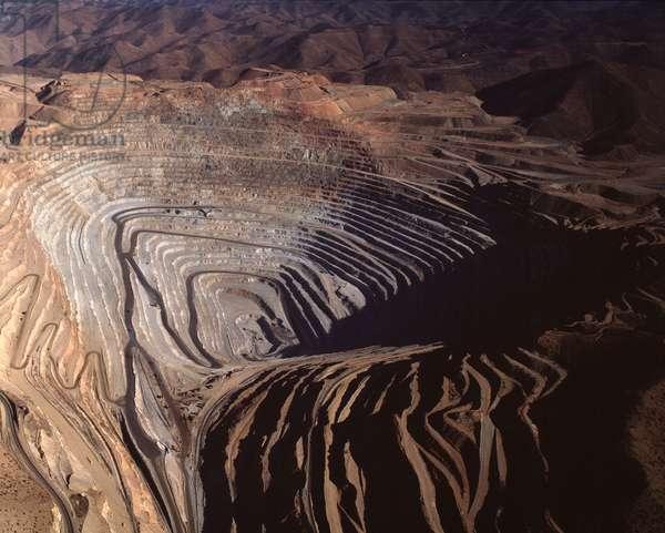 Aerial view of the open-air copper mine of Toquepala, Tacna region, Peru 1983 - Aerial view of Cuajone copper mine, Tacna district Peru 1983