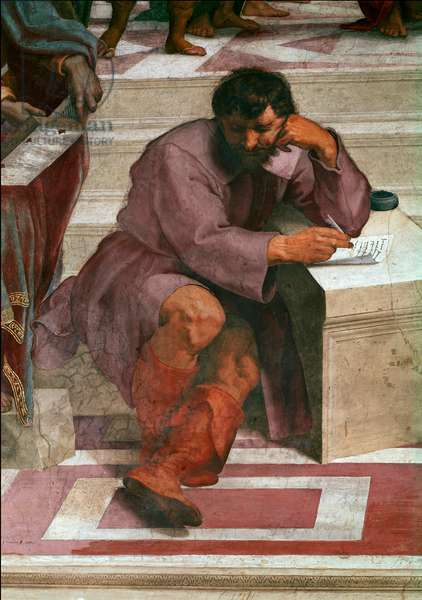L'école d'Athenes (detail) - Heraclite, philosopher draws under the lines of Michelangelo Buonarroti dit Michel Ange (Michelangelo or Michelangelo, 1475-1564) - Fresco of the Chamber of Signature (Segnatura), by Raphael (Raffaello Sanzio 1483 - 1520) - Vatican Museum - Heraclitus, greek philosopher, represented in the guise of Michelangelo Buonarroti (1475 -1564) - Detail of the School of Athens, from the Stanza della Segnatura, fresco by Raffaello Sanzio, called Raphael (1483-1520), 1508-1511) - Vatican Museum and Galleries, Italy