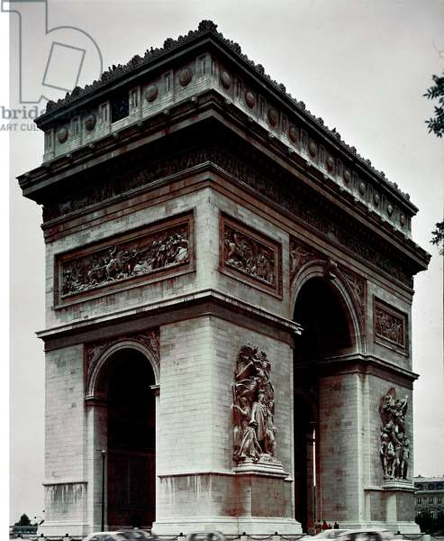 View of the Arc de Triomphe realized by Jean Francois Chalgrin (1739-1811) between 1806 and 1836 on the Place de l'Etoile in Paris