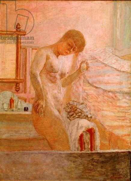 Nude debout à sa toilette Painting by Pierre Bonnard (1867-1947) 1920 Paris, Collection Alphonse Bellier