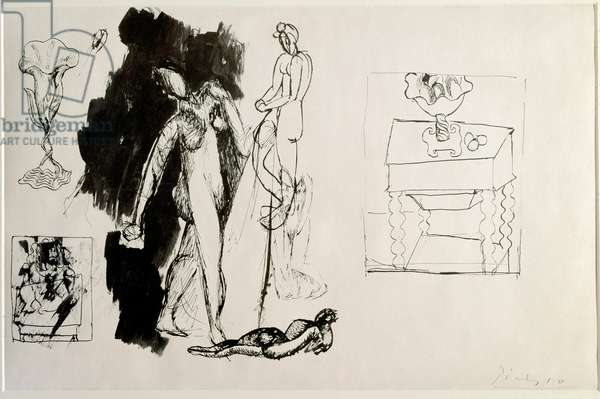 Four dancers Ink drawing by Pablo Picasso (1881-1973) 1908 Dim 32x49.4 cm New York, Museum of Modern Art