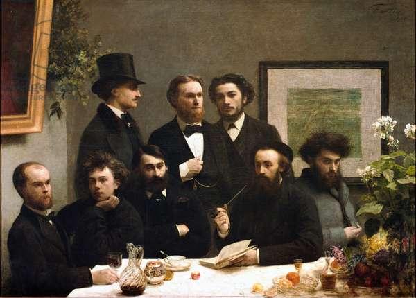 Table corner: from left to right: Paul Verlaine, Arthur Rimbaud, Elzear Bonnier, Leon Valade, Emile Blemont, Jean Aicart, Ernest d'Hervilly, Camille Pelletan (oil on canvas, 19th century)