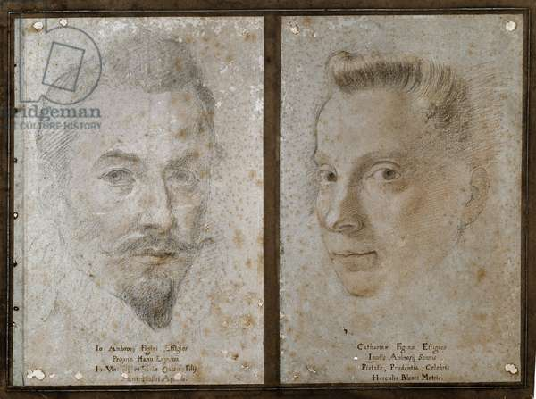 Self-portrait and portrait of the sister of the painter (Drawing, 16th century)