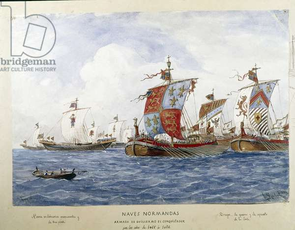 Representation of the fleet of William the Conquerant in the 11th century, ships of war, commerce, passenger transport Watercolour 1885 - Madrid naval museum