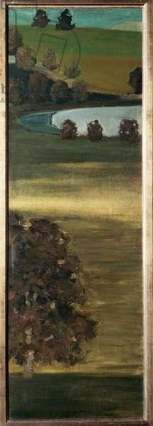View of the Aar valley in Switzerland (View of the Aar valley, Switzerland) Painting by Paul Klee (1879-1940) 1900 Dim 144x48 cm bern, collection Felix Paul Klee