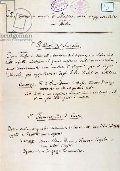Preface to the libretto of Lichtenthal's adaptation of Mozart's 'Die Entfuhrung aus dem Serail', 1838 (ink on paper)