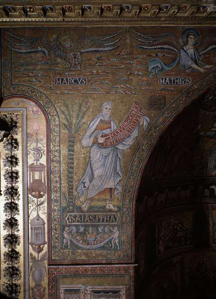 Prophet Isaiah and symbols of evangelists Mark and mathew, anonymous mosaic from the apse, 12th century Rome, Church Santa Maria in Trastevere Italy