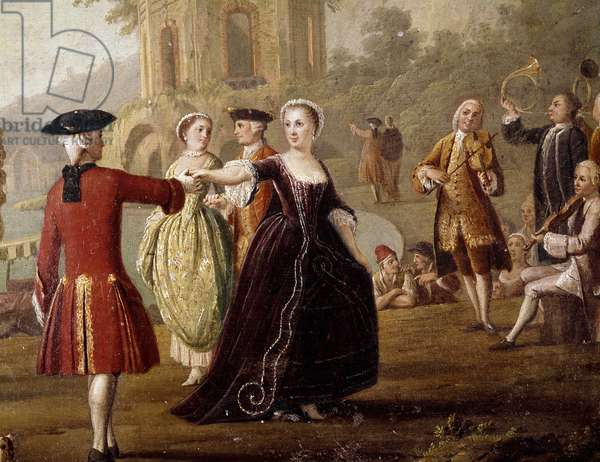 Noble dance and feast scene in Naples Dancers in a park. Painting by Pietro Fabris (active between 1763 and 1776). 18th century Naples, Museo Nazionale di San Martino