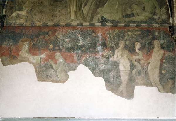 """Genese: """""""" Creation d'Eve et peche originel"""""""" (genesis, creation of eve and the original sin) Fresco by Paolo Uccello (1397-1475) 1430 Dim 244x478 cm Tympan, chiostro green, Santa Maria Novella Florence"""