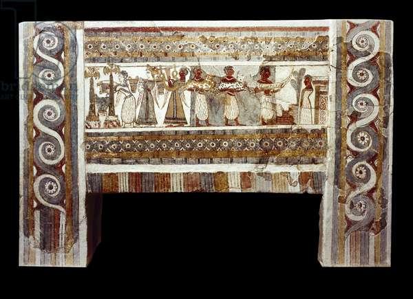 Minoan civilization: the sarcophagus of Haghia Triada: fresco depicting a scene of cult of the dead. 1400 BC. Musee Heraklion, Crete - Minoan civilization: Hagia Triada sarcophagus. Fresco depicting a scene of the cult of the dead. 1400 BC. Heraklion Museum, Crete, Greece