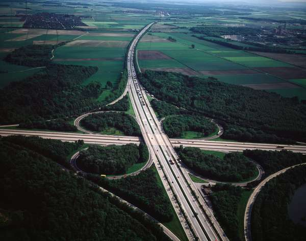 Aerial view of intersection of Highways (left to Berlin, right to Hanover, up to Kassel and down to Hamburg), 1990 - Photography