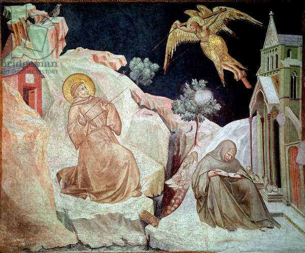 Saint Francois of Assisi receiving the stigmas Fresco by Pietro Lorenzetti (1280/1285-1348) 1324-1325 Assisi, Basilica di San Francesco (Basilica of Saint Francois of Assisi), Lower Church